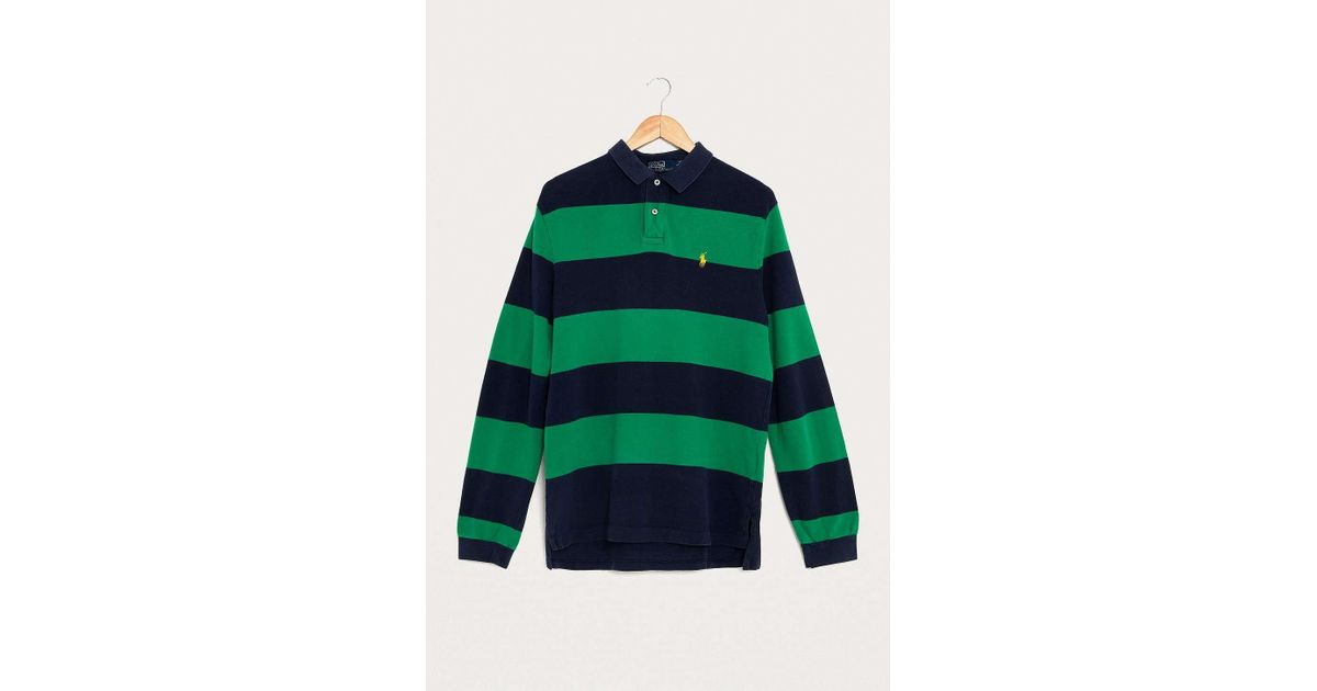 cc2f011c Urban Renewal - Vintage One-of-a-kind Ralph Lauren Green And Blue Striped  Rugby Shirt - Mens L for Men - Lyst