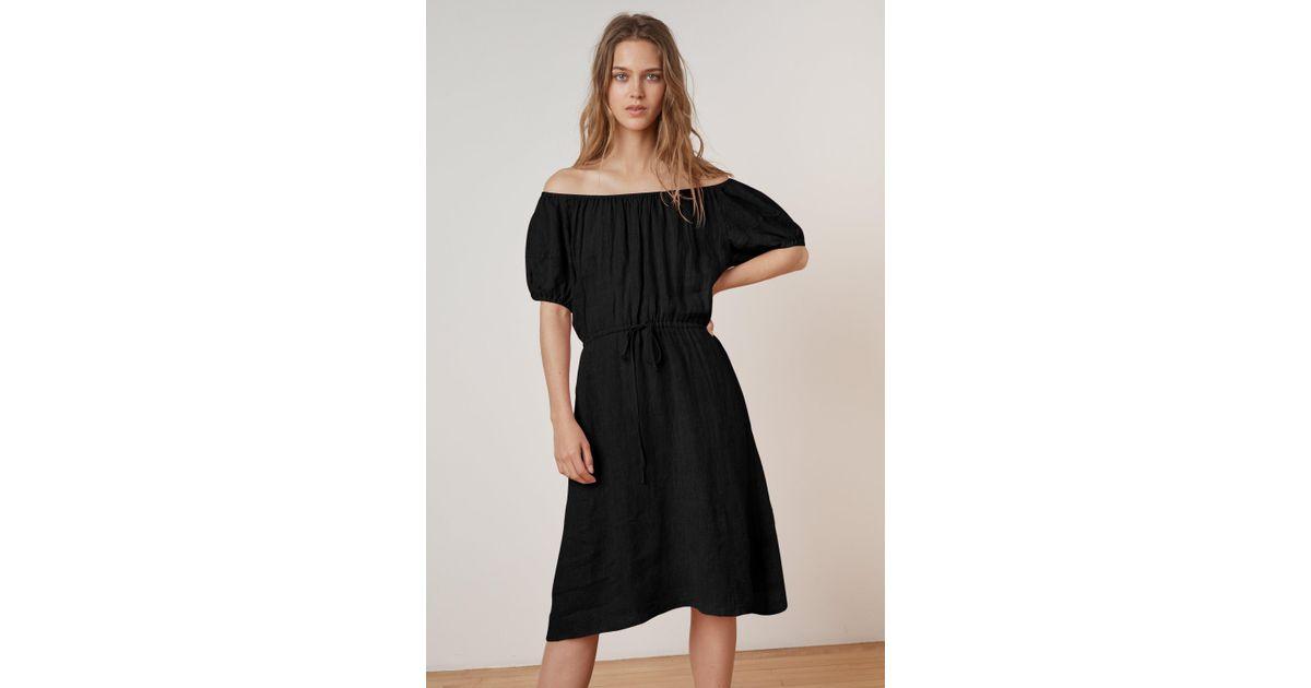 27b39ea8fb Mango Pauline Woven Linen Off The Shoulder Tie Dress In Black in Black -  Lyst