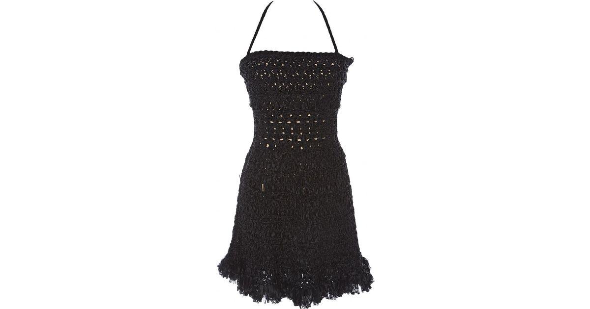 829aab06921 Dior Black Silk Dress in Black - Lyst