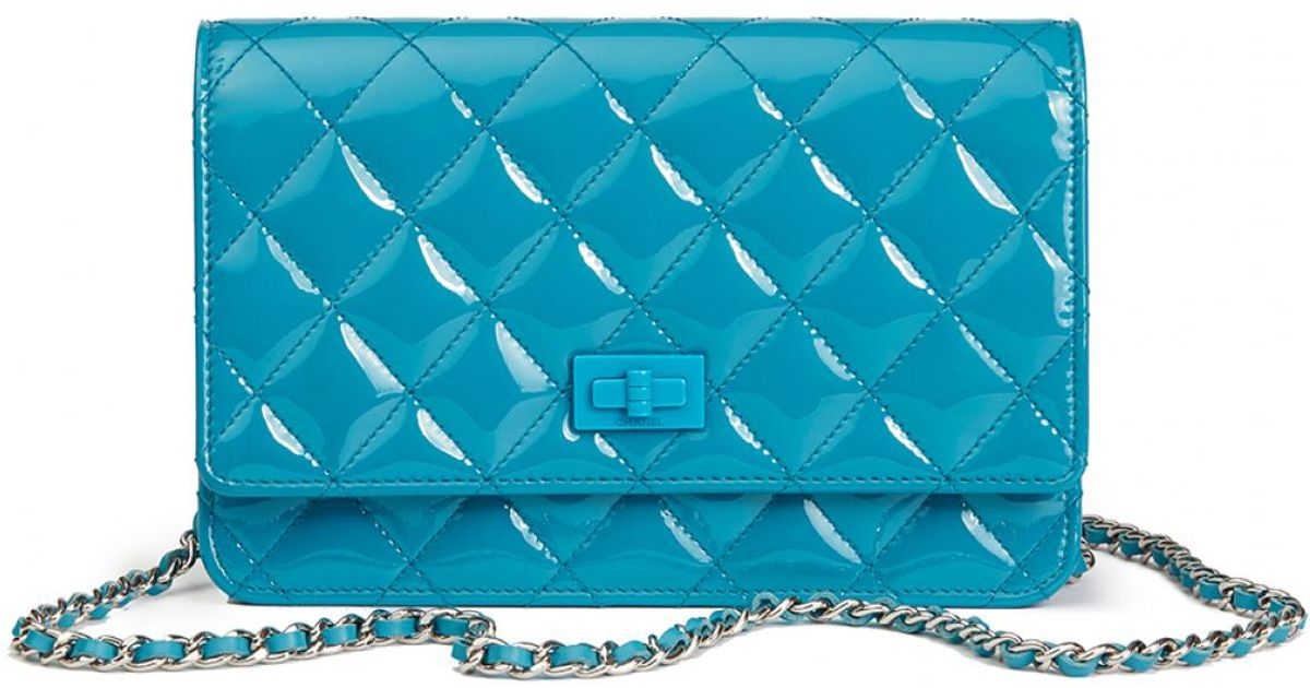 62f11abdc0962b Chanel Wallet On Chain Turquoise Patent Leather Handbag in Blue - Lyst