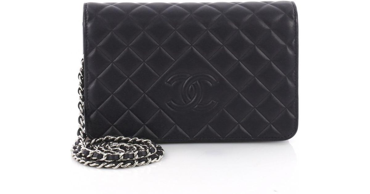 40f1a35c6280 Lyst Chanel Wallet On Chain Leather Crossbody Bag In Blue