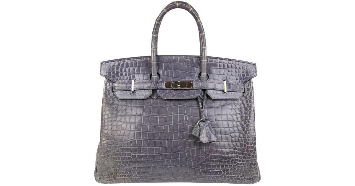 e7b72d78b1802 Lyst - Hermès Pre-owned Birkin 35 Crocodile Satchel in Purple