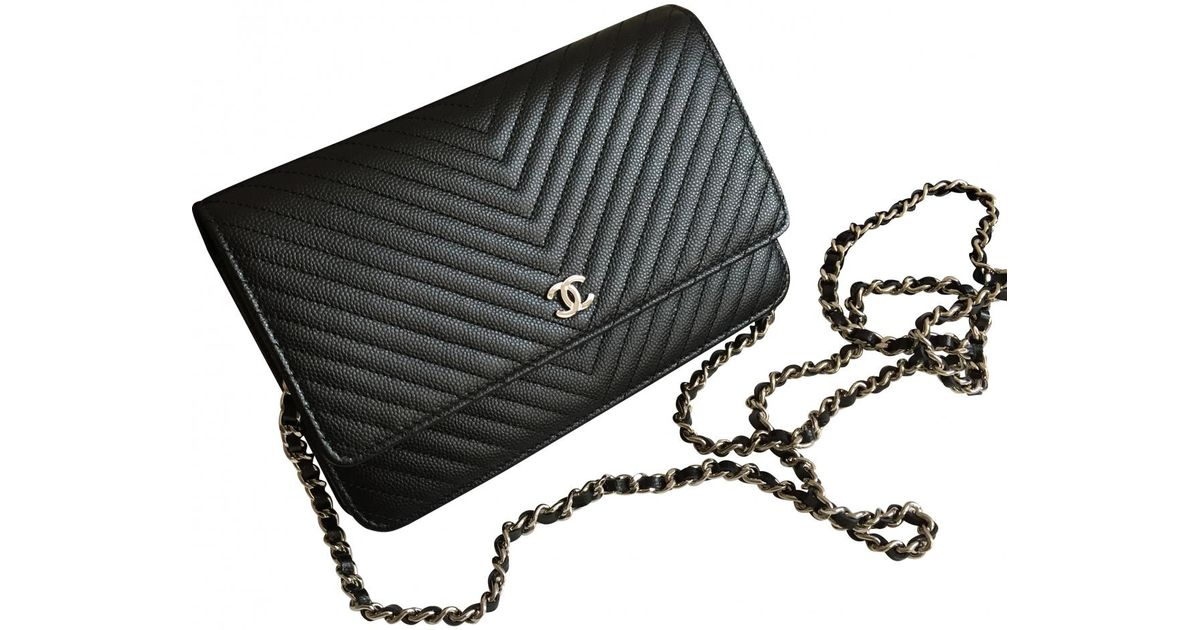 ed1d41eafb73 Lyst - Chanel Wallet On Chain Leather Mini Bag in Black