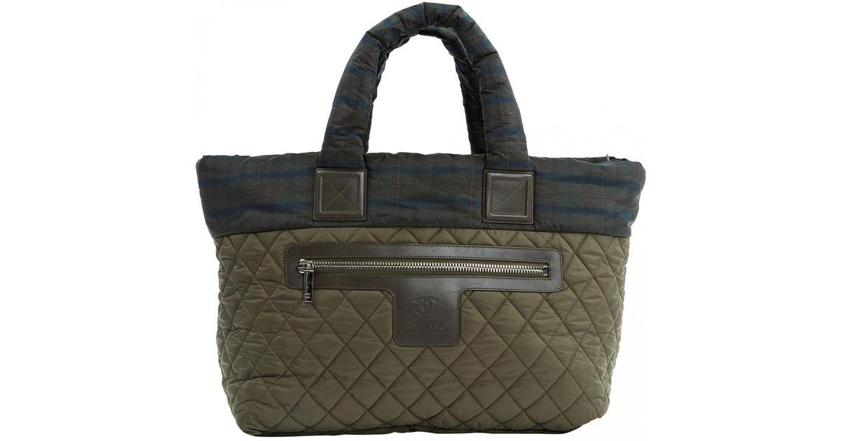 811a63114f7e Lyst - Chanel Coco Cocoon Khaki Synthetic Handbag