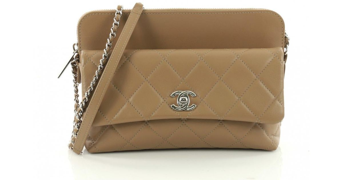 6bde233da Lyst - Chanel Leather Crossbody Bag in Brown