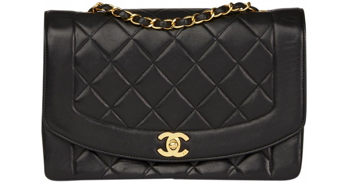 8c079ab8111d Chanel Pre-owned Diana Leather Handbag in Black - Lyst