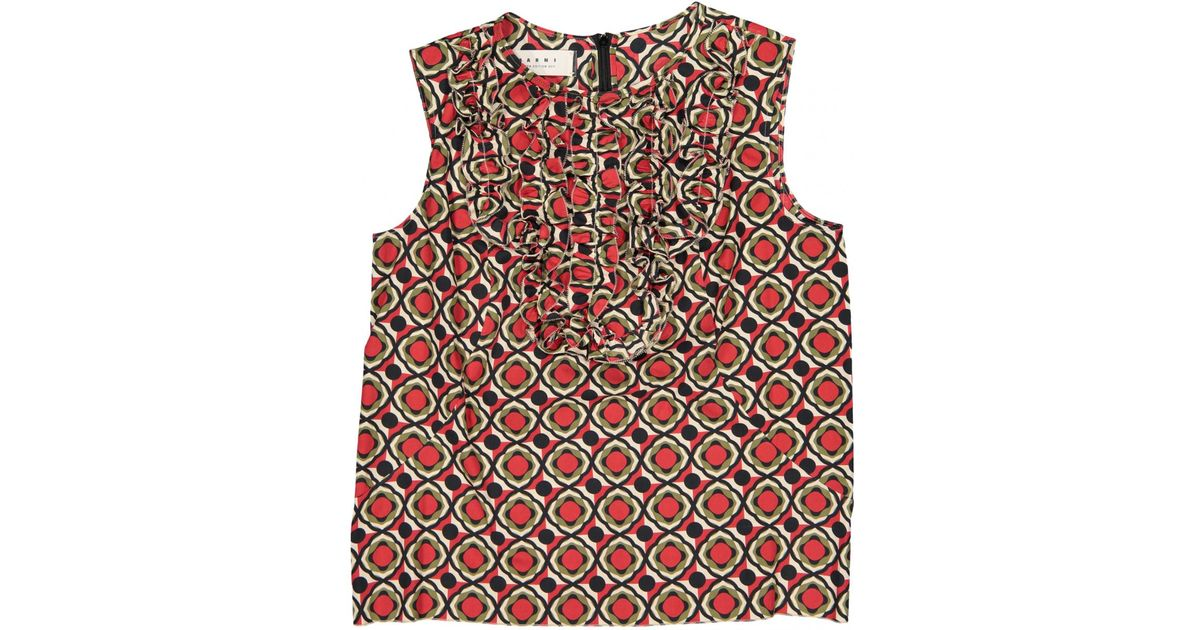 a9d5daf099b281 Marni Pre-owned Multicolour Cotton Tops in Red - Lyst