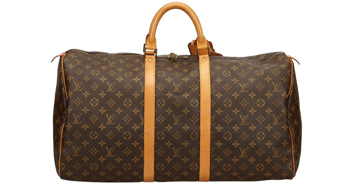 Lyst - Louis Vuitton Keepall Cloth Travel Bag in Brown for Men 9b551464defd2