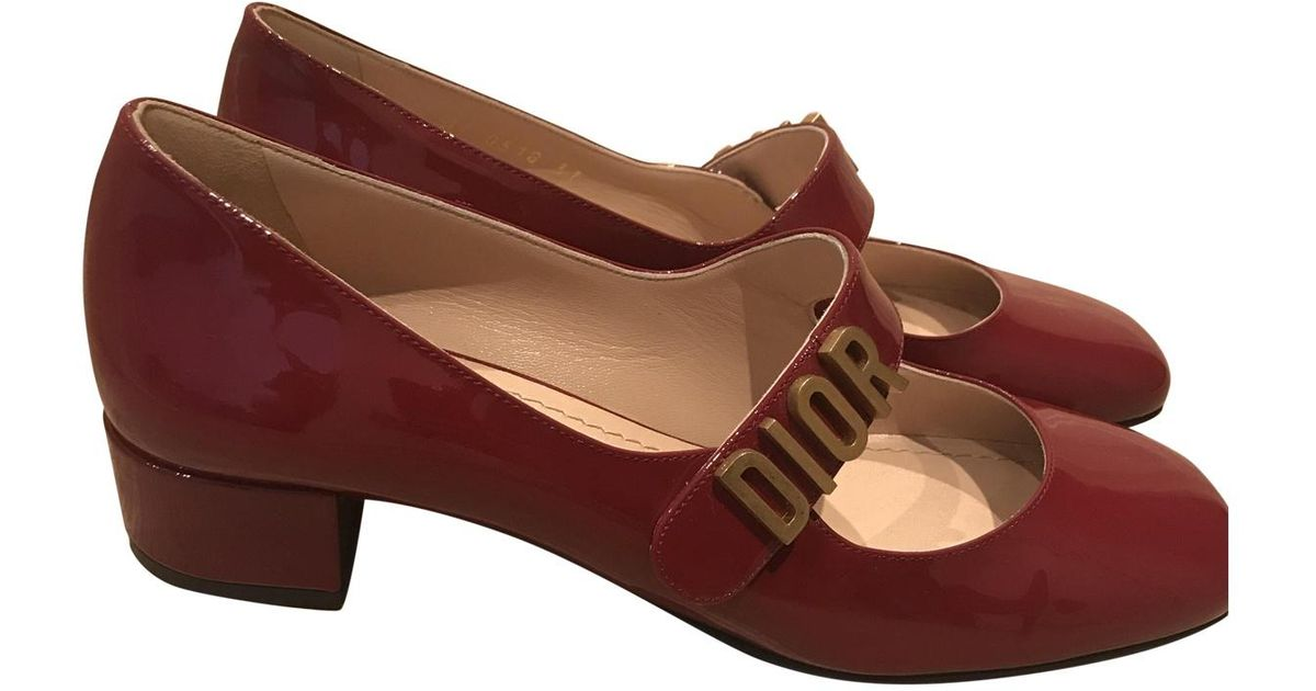 e6f7c2e3234 Dior Pre-owned Baby-d Red Patent Leather Ballet Flats in Red - Lyst