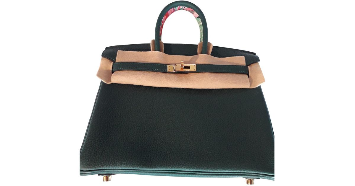14e674489b9b Hermès Birkin 25 Green Leather Handbag in Green - Lyst