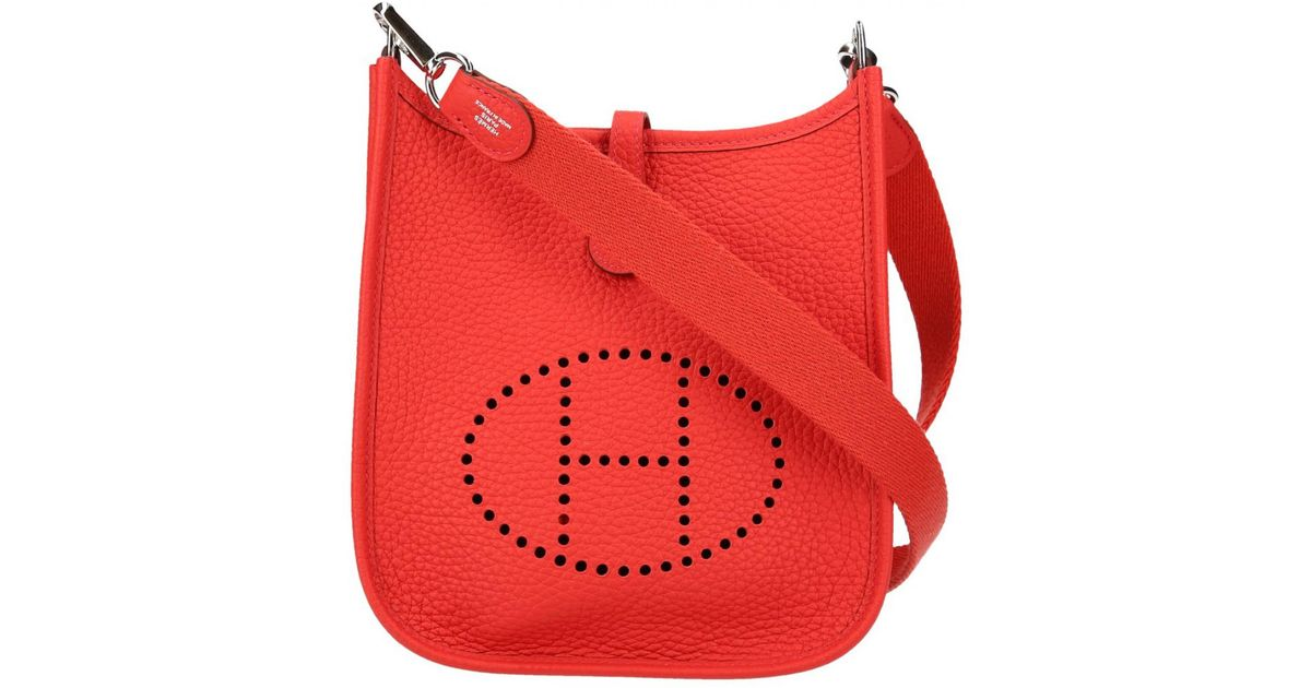 54bd517d4c Lyst - Hermès Evelyne Leather Crossbody Bag in Red