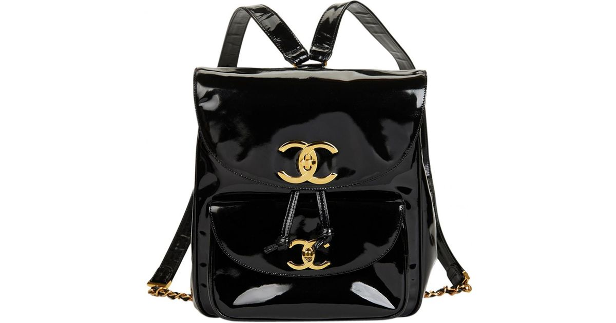 0223f3307e8e Lyst - Chanel Vintage Timeless/classique Black Patent Leather Backpacks in  Black