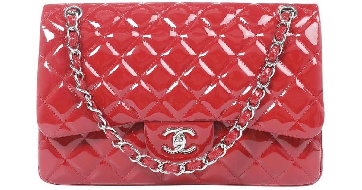 Lyst - Chanel Timeless Patent Leather Bag in Red 6bc650527ceae