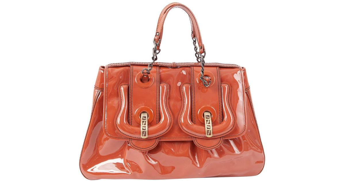 6d4f21493d70 Lyst - Fendi Bag Patent Leather Satchel in Orange