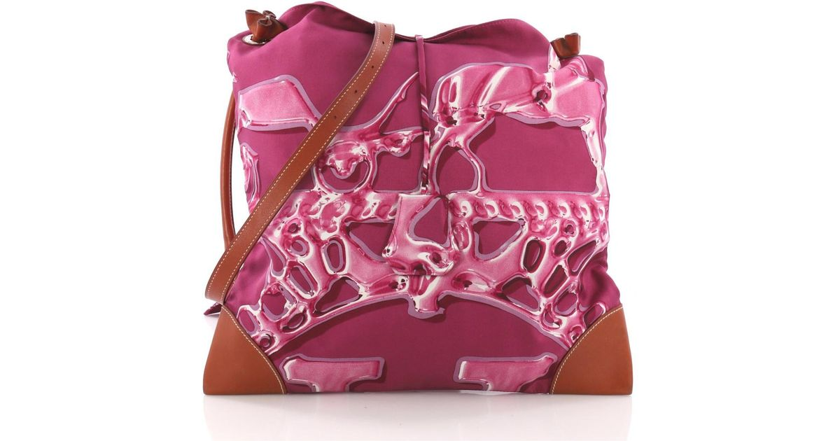 c0186aea1f15 Lyst - Hermès Pre-owned Silk City Purple Silk Handbags in Purple