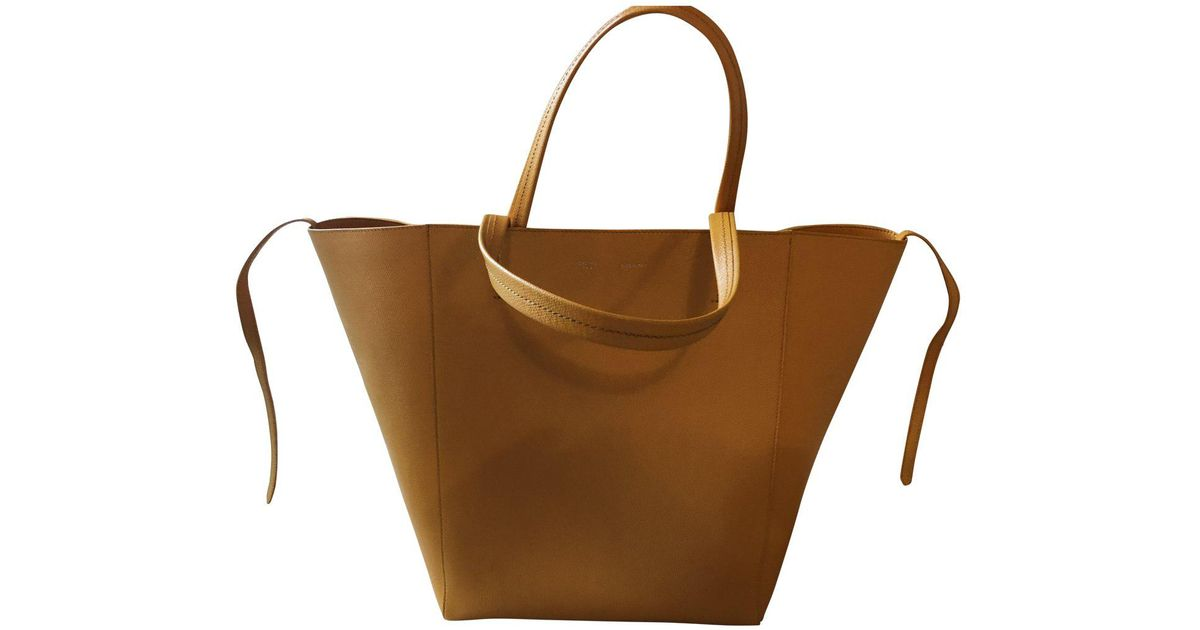 b428b618e3904 Lyst - Céline Pre-owned Cabas Phantom Leather Tote in Yellow