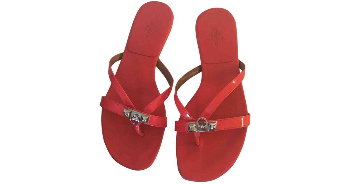 311d0cb4c2cb19 Lyst - Hermès Corfou Patent Leather Sandal in Red