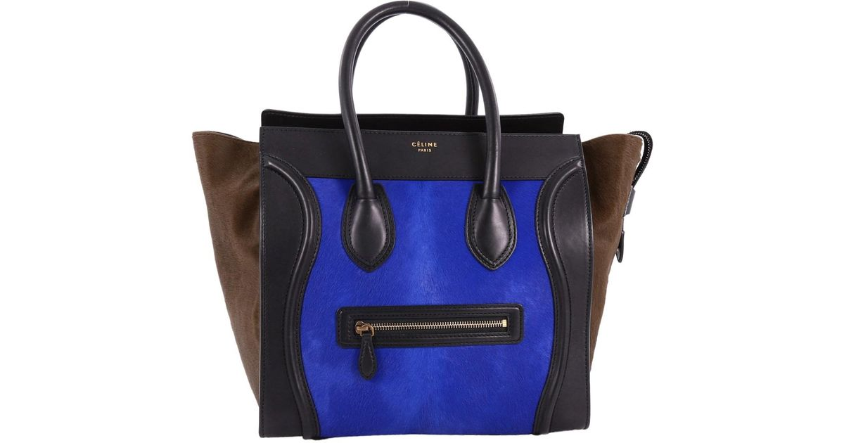 924259e58e Céline Special Edition Black Leather Blue Brown Calf Hair Mini Luggage Tote  Bag in Blue - Save 30.696014277215937% - Lyst