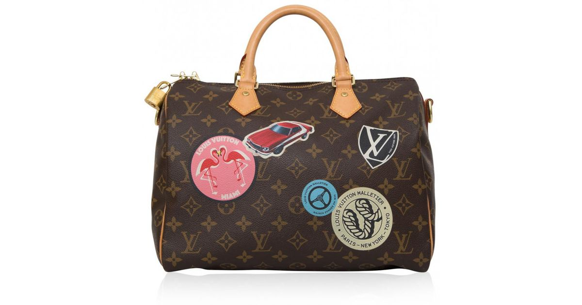 4e29d5d1b386 Lyst - Louis Vuitton Pre-owned Speedy Bandoulière Cloth Bowling Bag