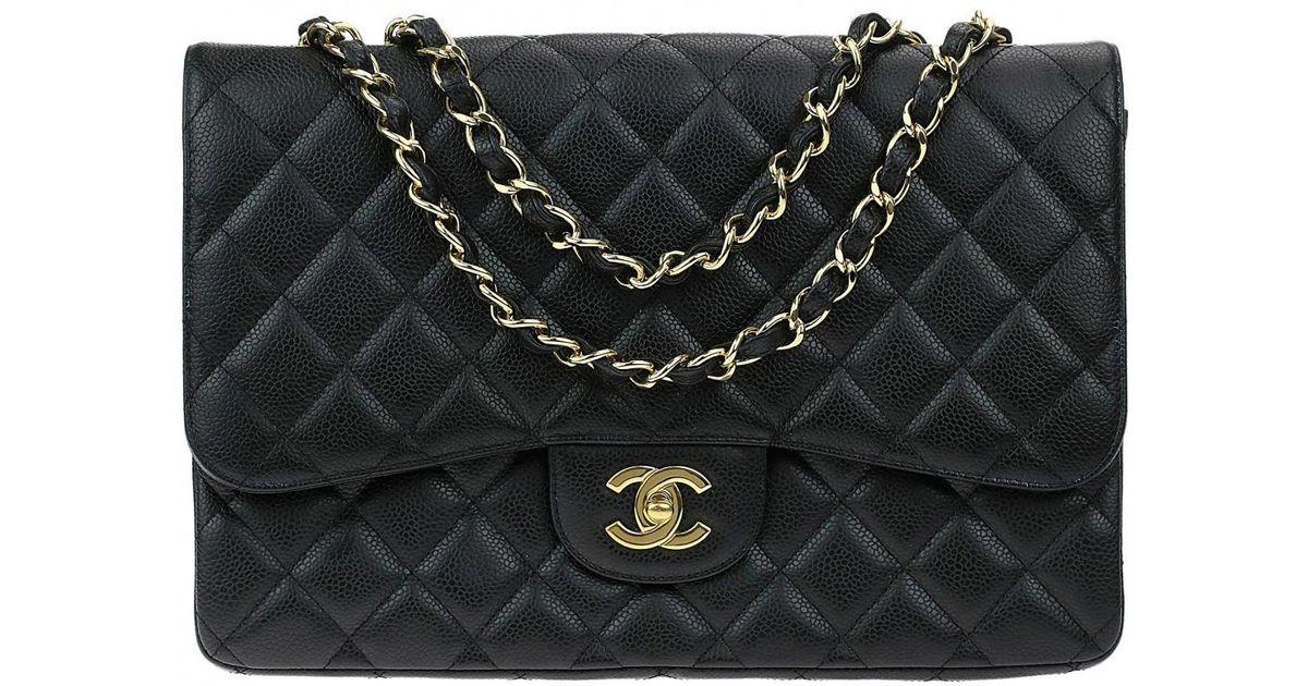45d17eaf0cac Chanel Timeless Leather Handbag in Black - Lyst