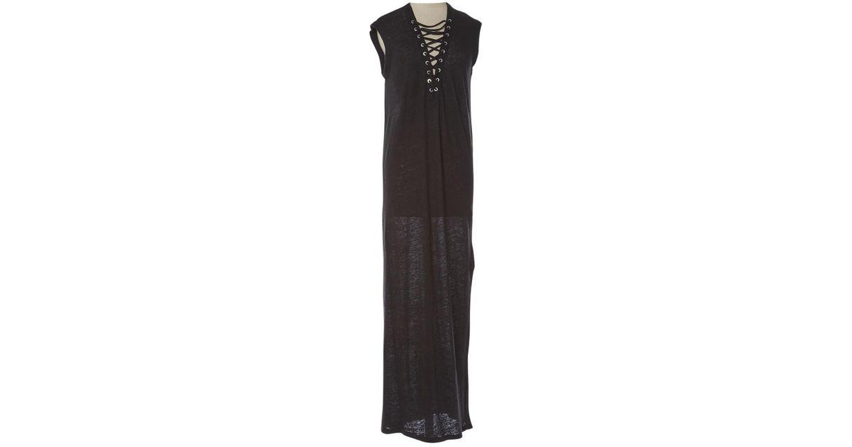 Lyst - Robe longue en lin Iro en coloris Noir 3a69c4e9fcb2