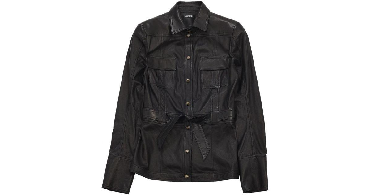 fcaedaaa32 Balmain Pre-owned Black Leather Jackets in Black - Lyst
