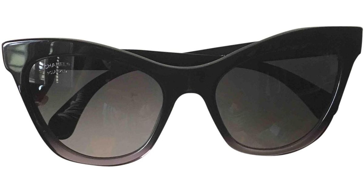 2a11aab7aac Lyst - Chanel Pre-owned Black Plastic Sunglasses in Black