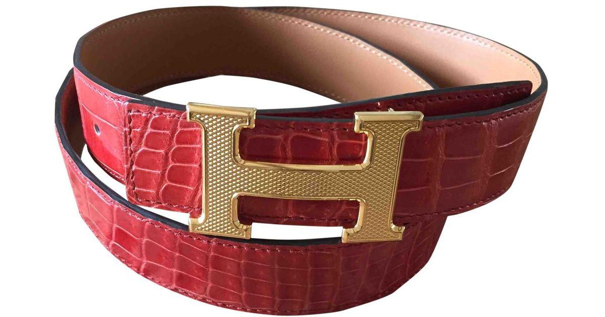 6f0b9ab9d3bb Lyst - Ceinture H en crocodile Hermès en coloris Rouge