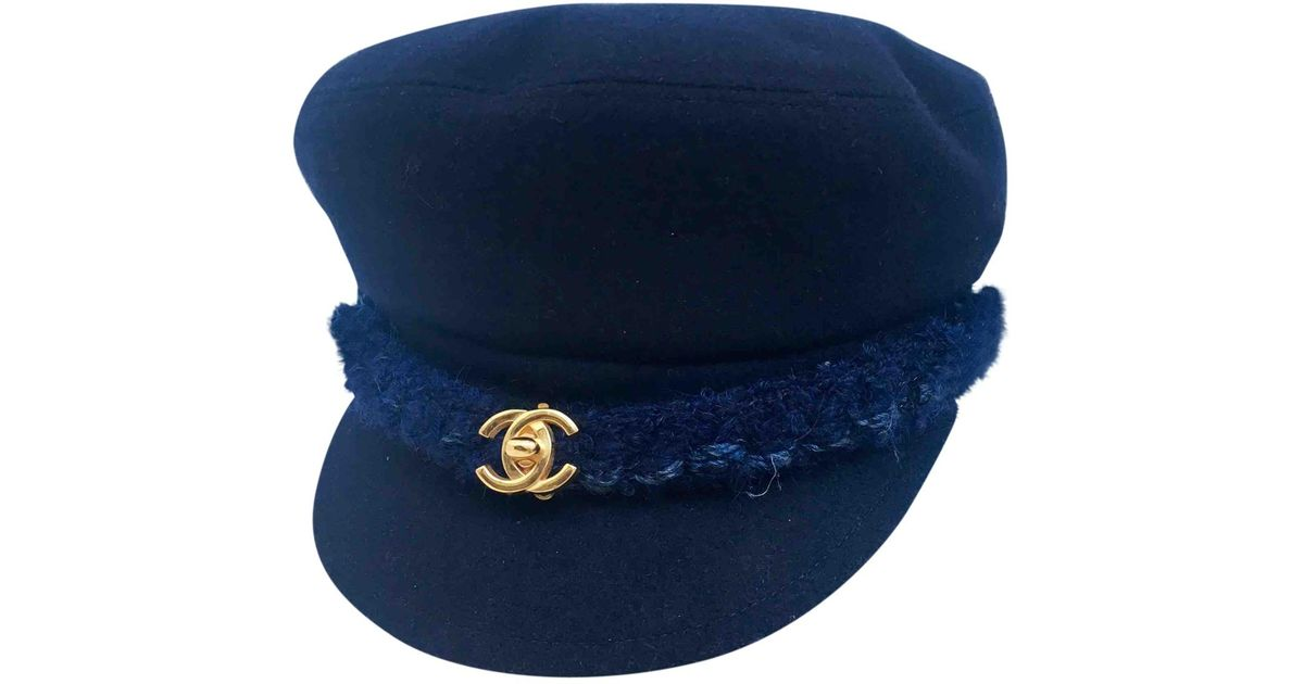 b6a3ed4422e94 Chanel Pre-owned Navy Wool Hats in Blue - Lyst