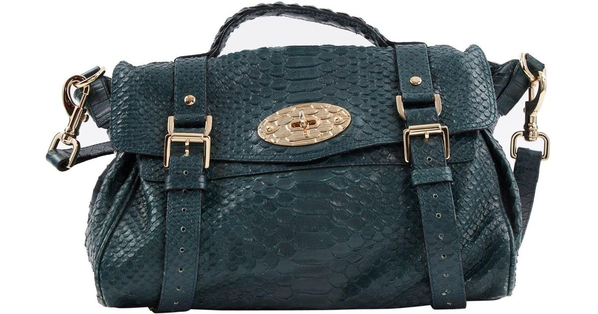 8a5d29309cd8 Lyst - Mulberry Pre-owned Alexa Green Leather Handbags in Green