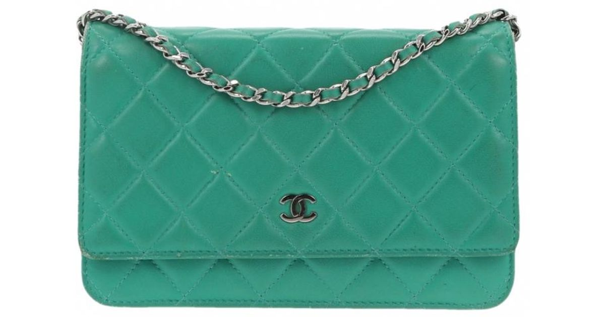 5e7bd574c9abe7 Chanel Wallet On Chain Green Leather Handbag in Green - Lyst