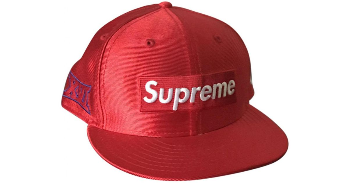 738dc0c0bab3b Supreme Leather Box Logo New Era Hat Red in Red for Men - Save 41% - Lyst
