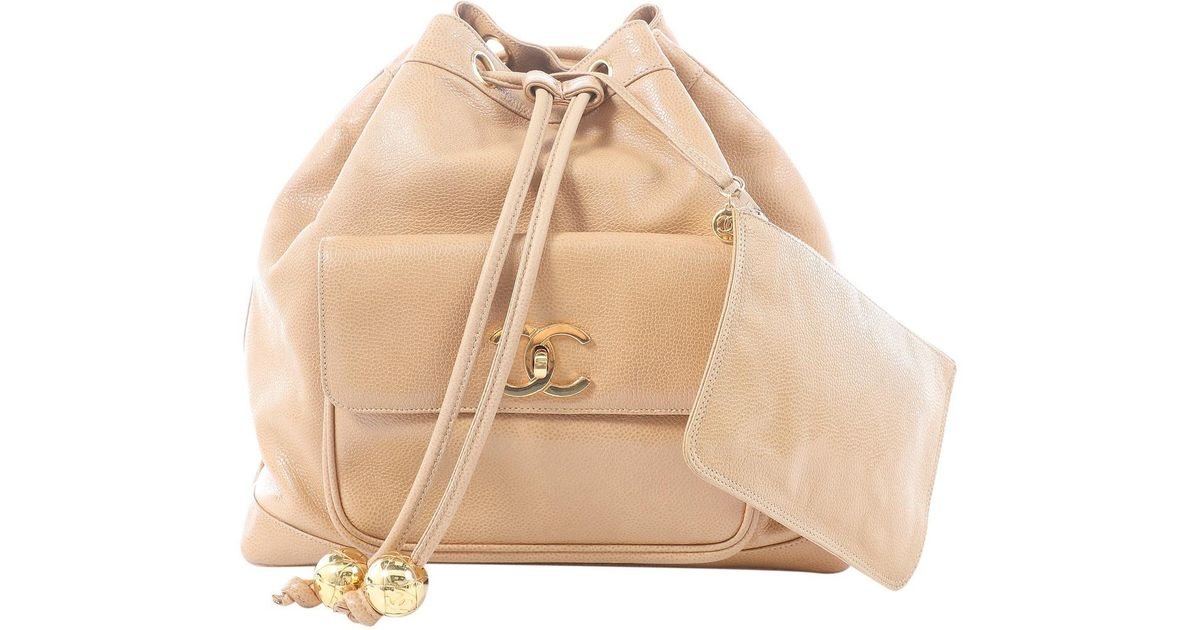 bd63e072661c Chanel Leather Backpack in Natural - Lyst