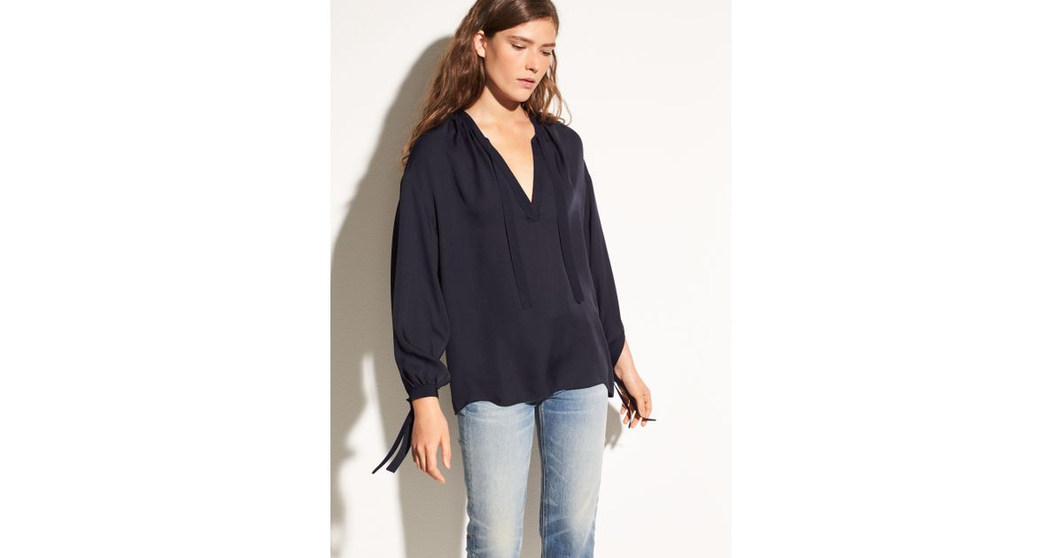 8917f24d3a0e60 Lyst - Vince Tie Front Silk Poet Blouse in Blue