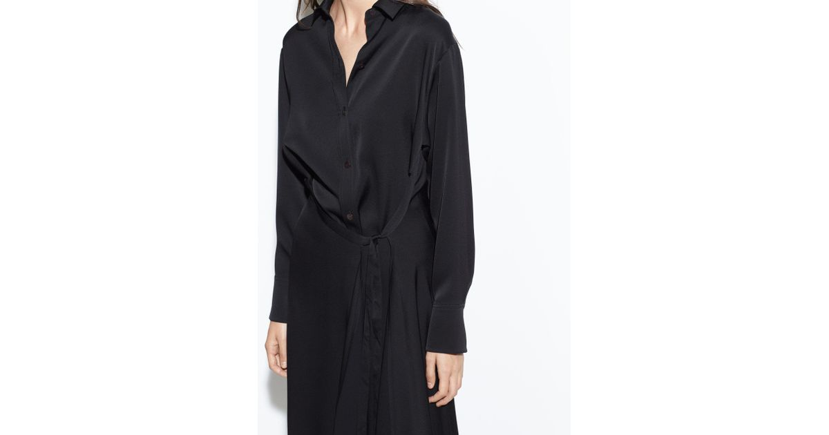 15b1c3fd5b0 Vince Tie Front Shirt Dress in Black - Lyst