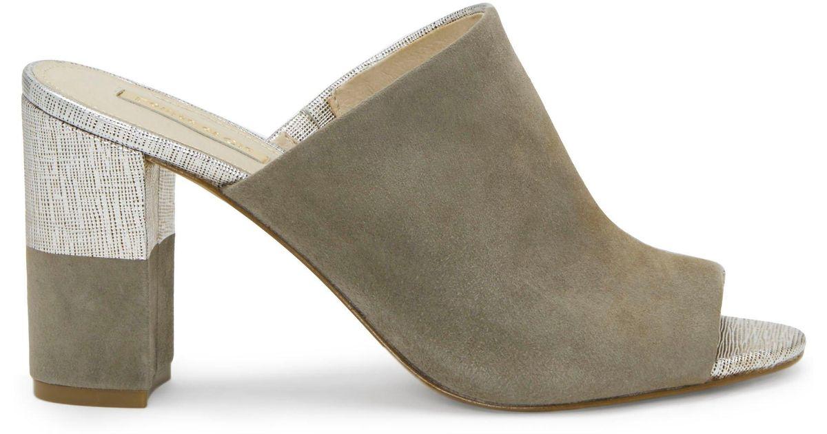 Kaycee Leather & Suede Block Heel Mules AST6hvx
