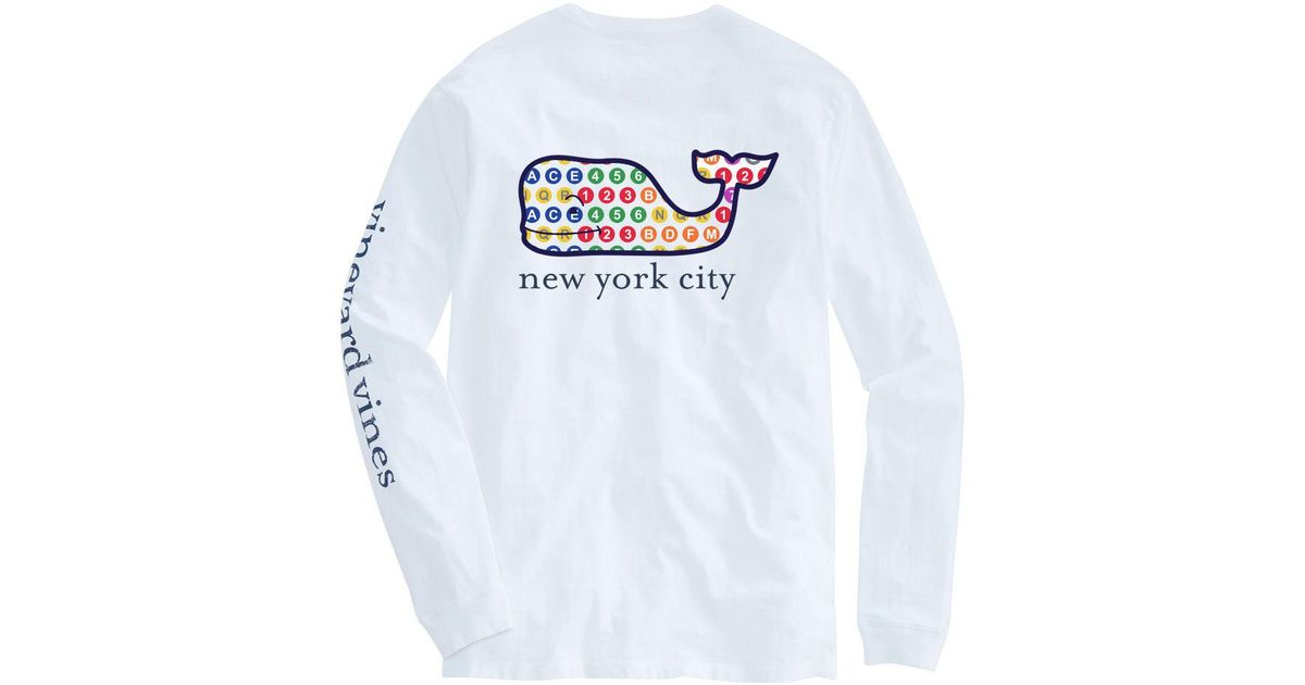 45824279ca4787 Lyst - Vineyard Vines Adult Long-sleeve Nyc Subway Whale Fill T-shirt in  White for Men