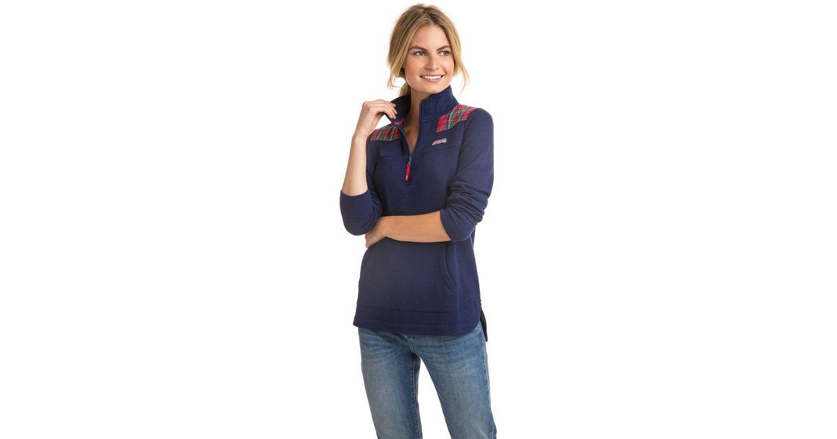 26dd0413fe013b Vineyard Vines Jolly Plaid Heathered Relaxed Curved Hem Shep Shirt in Blue  - Lyst