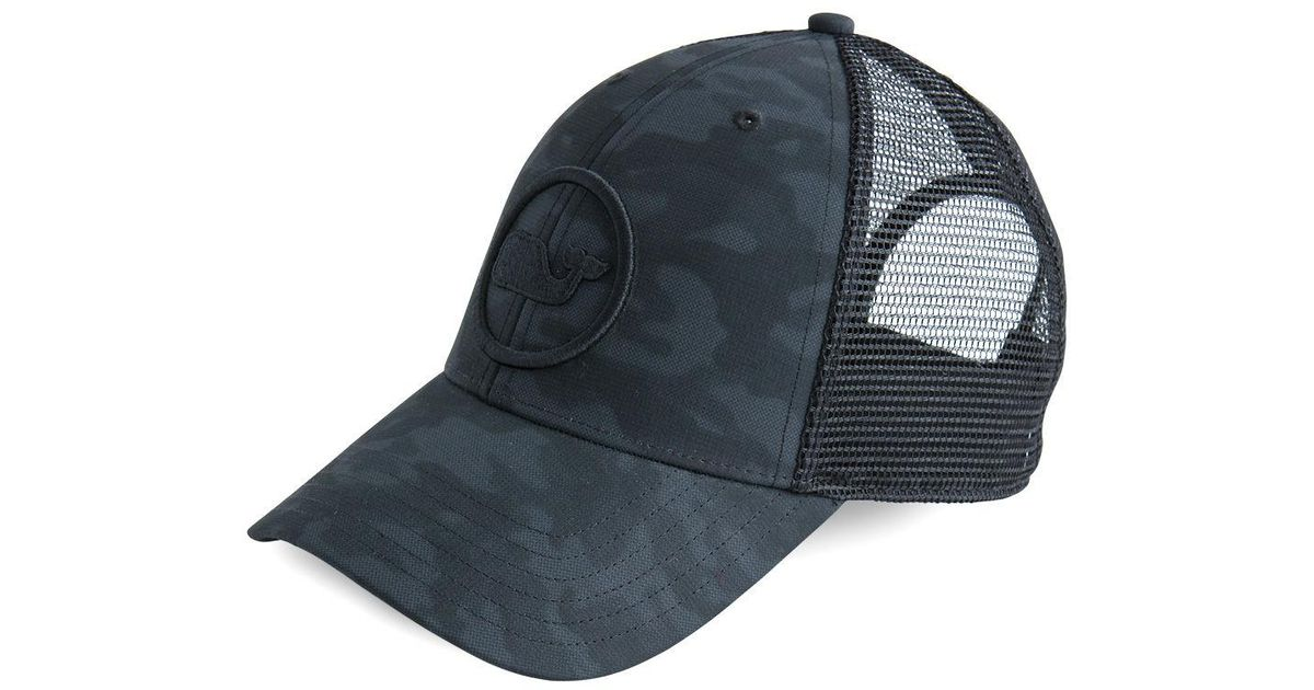 9ec9ab9cf1b Lyst - Vineyard Vines Embroidered Whale Dot Performance Camo Trucker Hat in  Black for Men