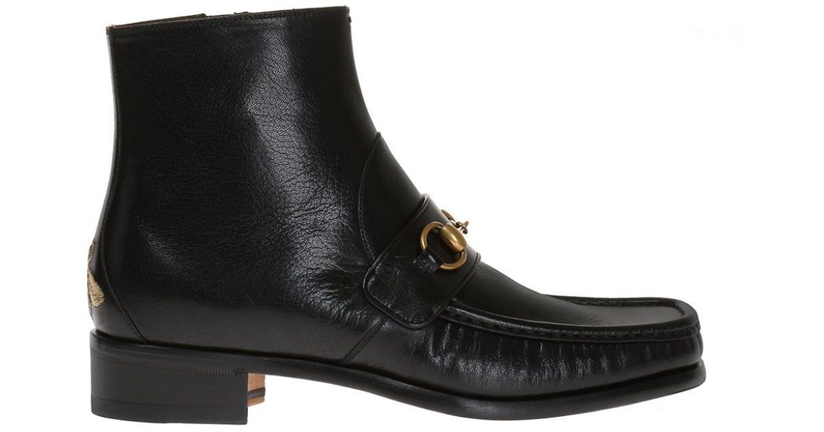 5ff4f45dc7b Gucci - Black Bee-embroidered Ankle Boots for Men - Lyst