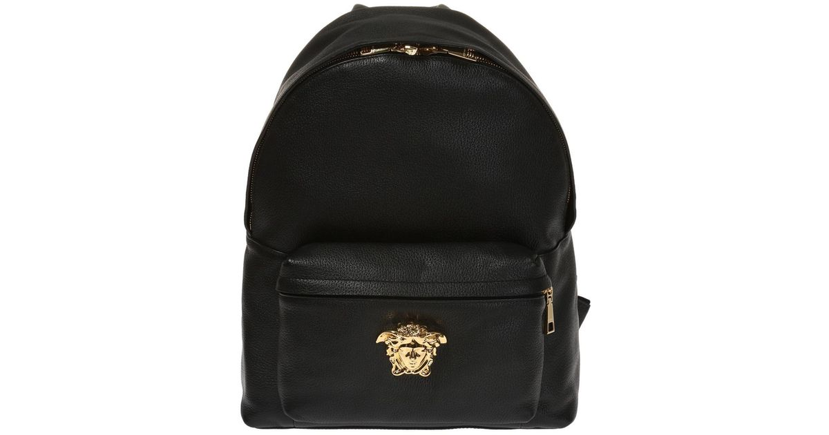 4f3213bbc898 Lyst - Versace Men s Leather Medusa Backpack in Black for Men - Save 41%