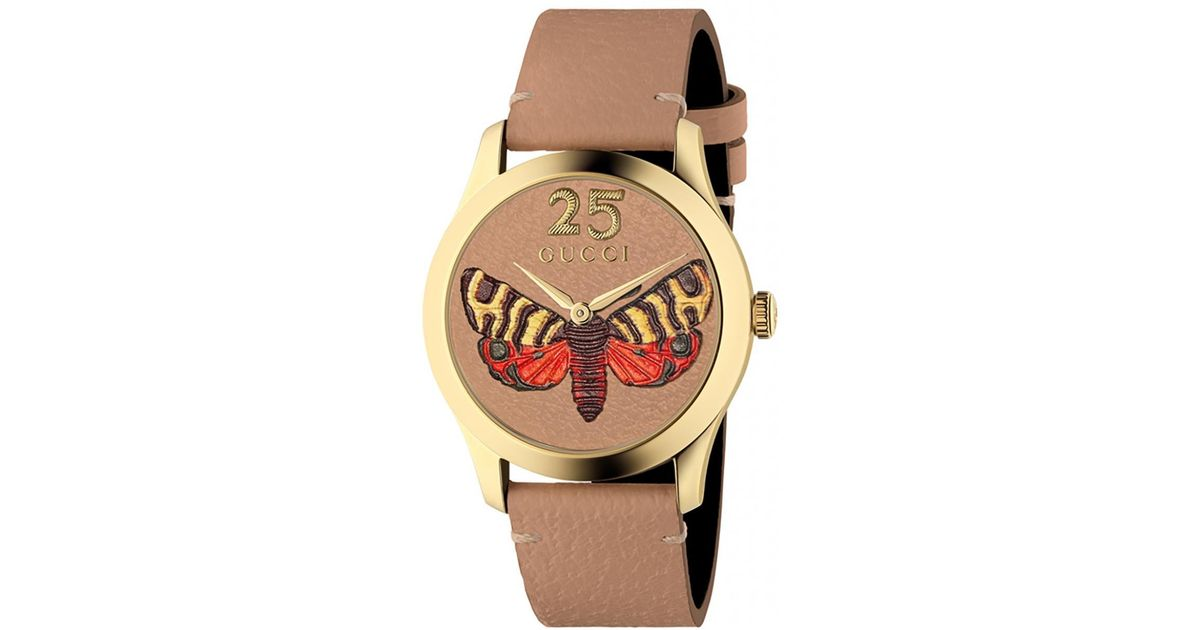 ba5ebae27b2 Lyst - Gucci  g-timeless  Watch With Motif Of Moth in Brown