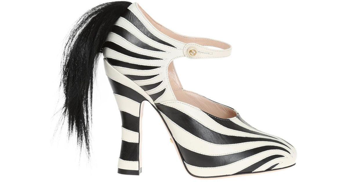 b16c8c476 Gucci Zebra Motif Leather Pumps in White - Lyst