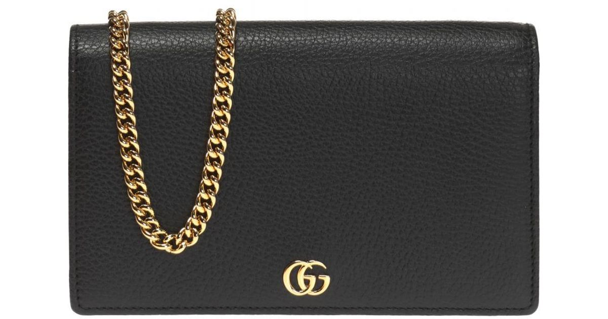 af65d3d5b66c Gucci 'GG Marmont' Wallet On Chain in Black - Lyst