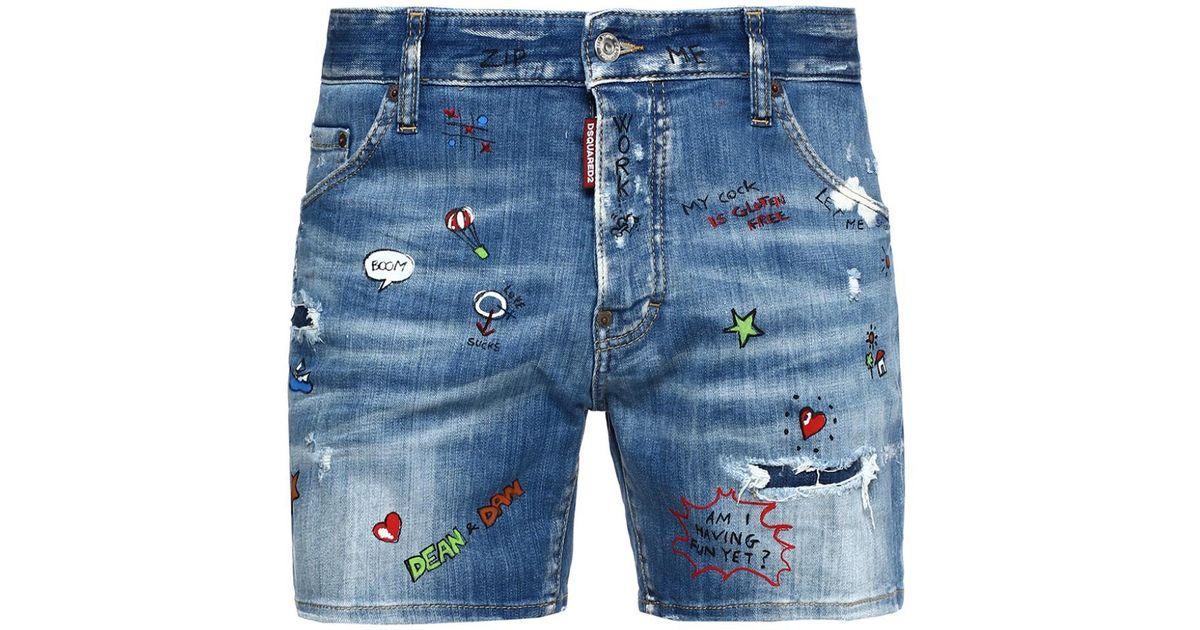 de569513d70d8 DSquared² Printed Denim Shorts in Blue for Men - Lyst