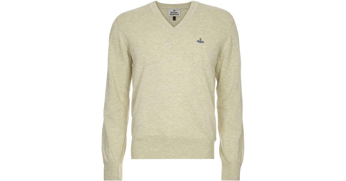 4792da2bd3cae Vivienne Westwood V-neck Jumper Cream grey Melange in Gray for Men - Lyst