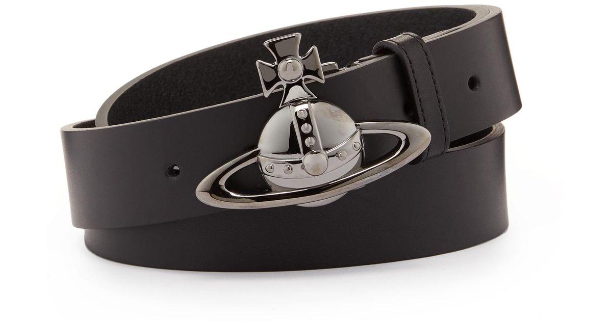 Lyst - Vivienne Westwood Orb Gunmetal Buckle Belt 82010003 Black in Black  for Men