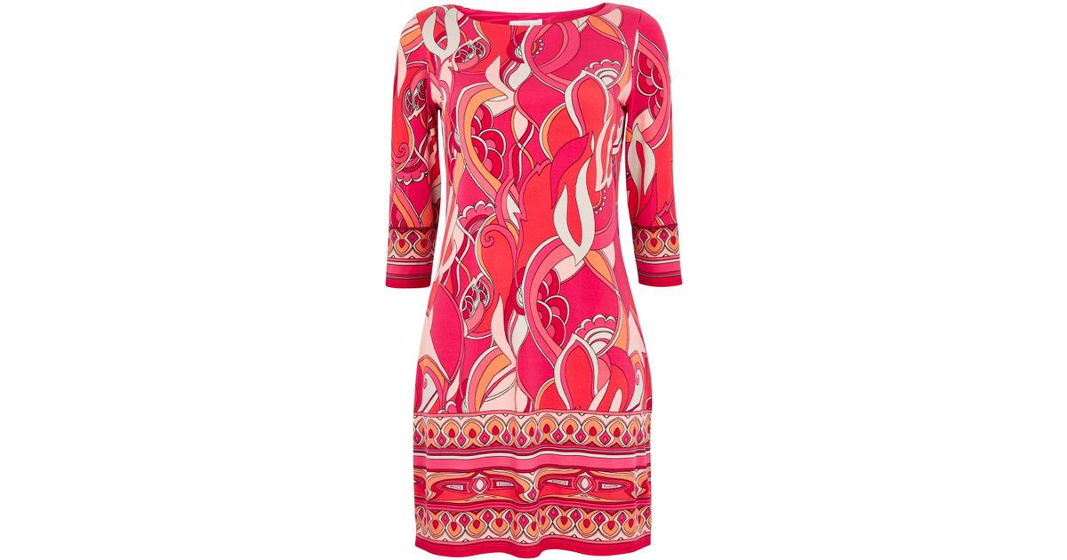 0b346c4245d Wallis Petite Pink Swirl Border Tunic Dress in Pink - Lyst