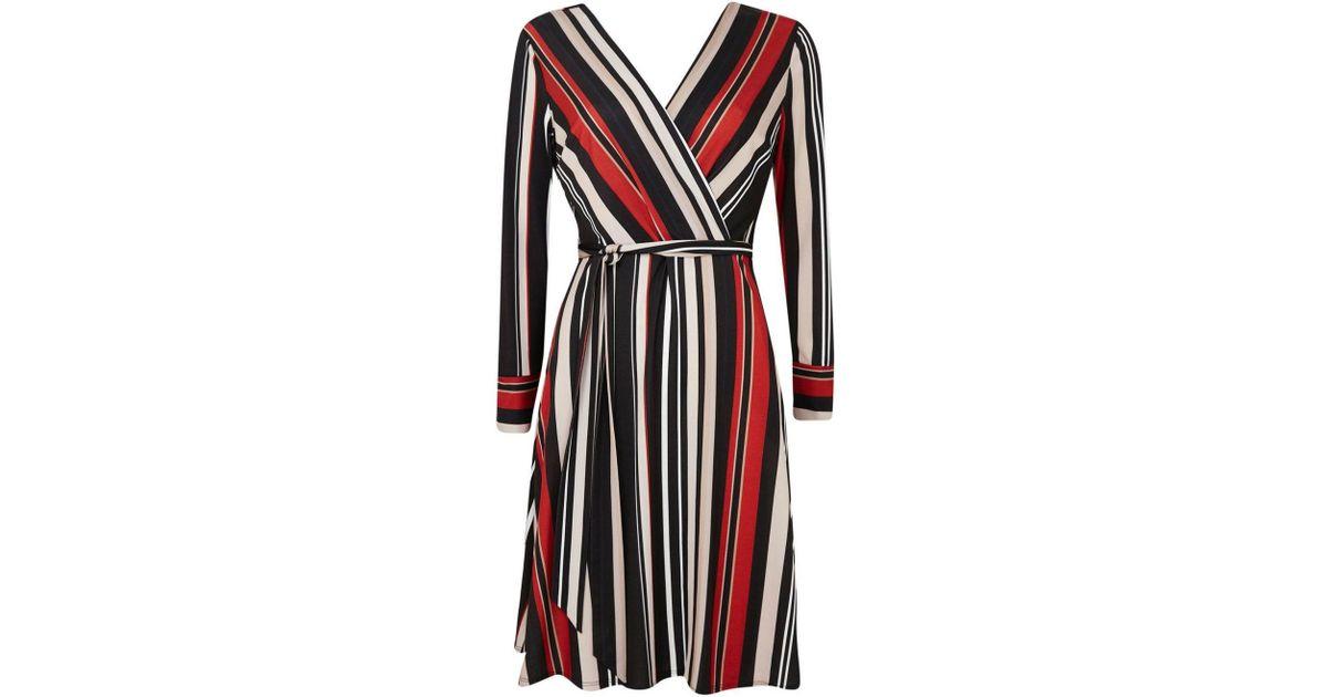 1ae5b3087b648 Wallis Petite Black Striped Wrap Dress in Black - Lyst