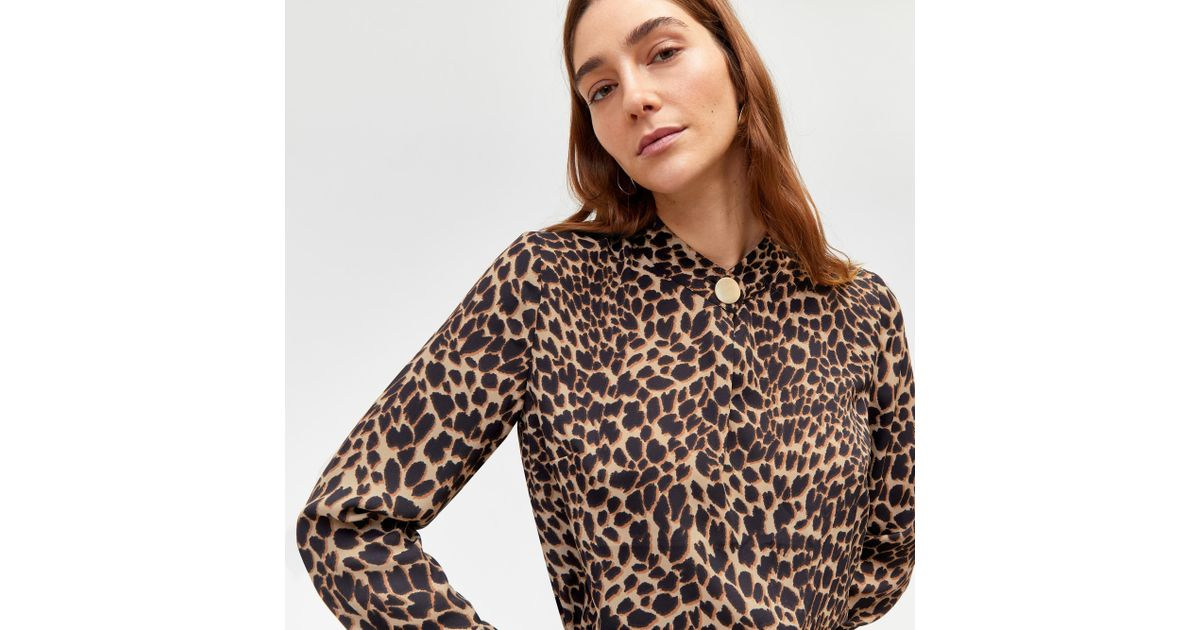 c6b13a71522a Warehouse Leopard Print Blouse in Brown - Lyst